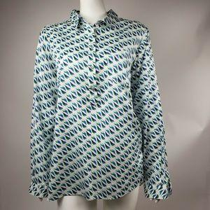 LIZ CLAIBORNE Blue Green Blouse XL